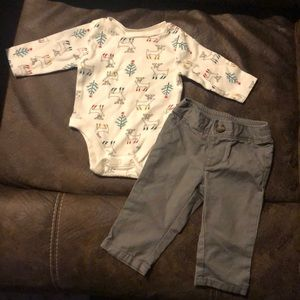 Boys 2 piece onesie outfit with matching pants